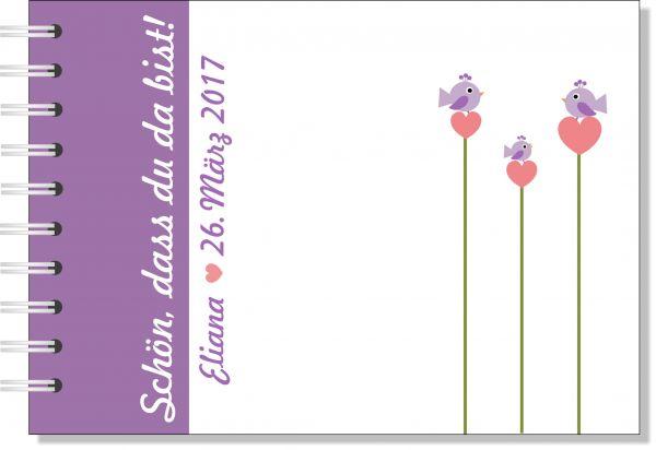 Gästebuch zur Taufe, Vögelchen lila, Taufgästebuch, Erinnerungsalbum zur Taufe, Taufalbum