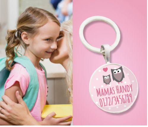 Kinder Anhänger Notfallnummer Eulen - Notfallanhänger - Geschenk zur Einschulung oder Kindergarten