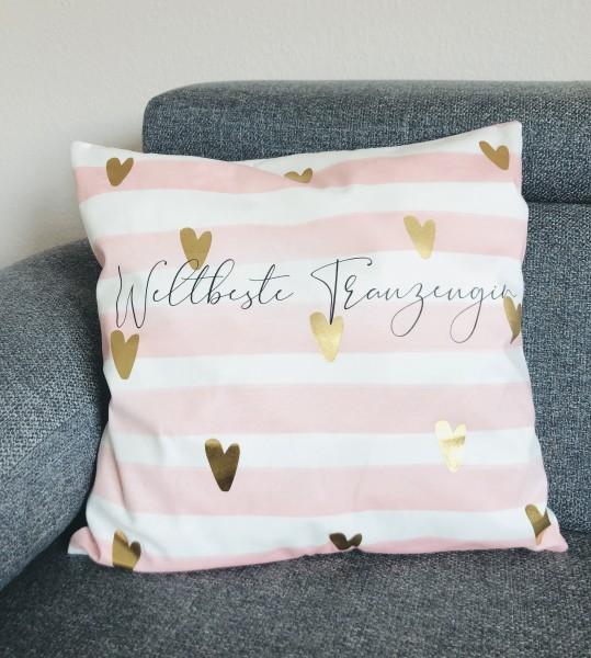 Kissenbezug Geschenk für die weltbeste Trauzeugin rosa weiß gestreift
