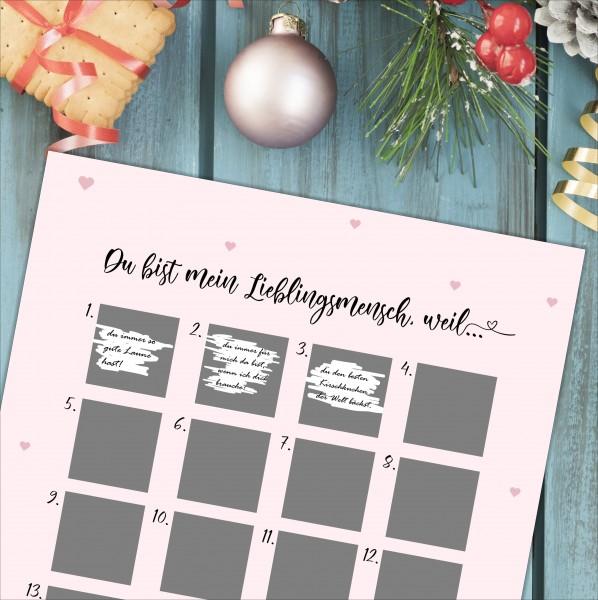 """Adventskalender zum Rubbeln """"LIEBLINGSMENSCH"""" A3 Weihnachtskalender"""