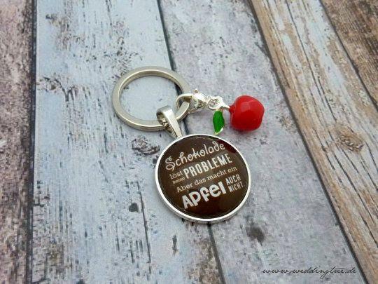 Anhänger Schokolade, Schlüssel, Schlüsselanhänger, Apfel, Geschenk Freundin, Schlüsselübergabe, neue