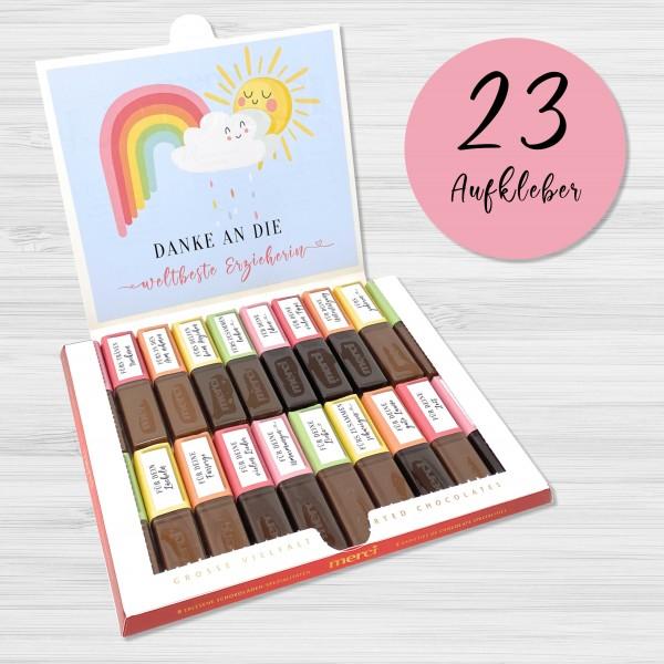Aufkleber Set für Merci Schokolade | persönliches Geschenk für die Erzieherin / Kindergärtnerin