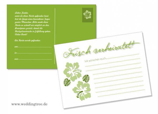 50 Ballonflugkarten zur Hochzeit Hibiskus grün