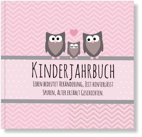 Kinderjahrbuch Eule - Babytagebuch, zauberhaftes Geschenk zur Geburt oder 1. Geburtstag