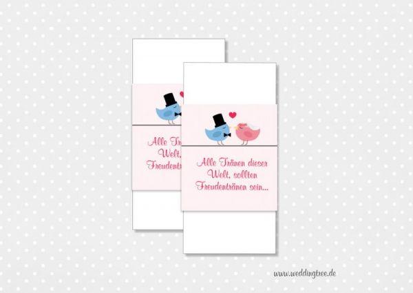 Gastgeschenk Hochzeit, Banderolen für Freudentränen, Banderolen für Taschentücher, Freudentränenband