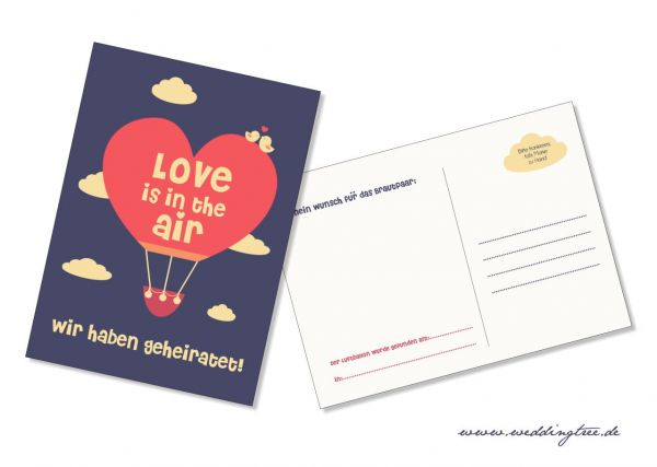 """50 Ballonflugkarten zur Hochzeit """"Wir haben geheiratet"""""""