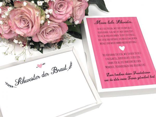 """Hochzeit Taschentuch für Freudentränen """"Schwester der Braut"""" Stofftaschentuch"""