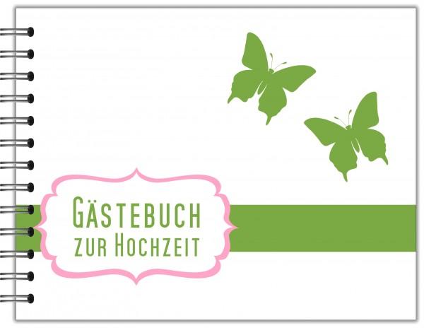 GÄSTEBUCH ZUR HOCHZEIT | RINGBUCH SCHMETTERLINGE WEIß GRÜN