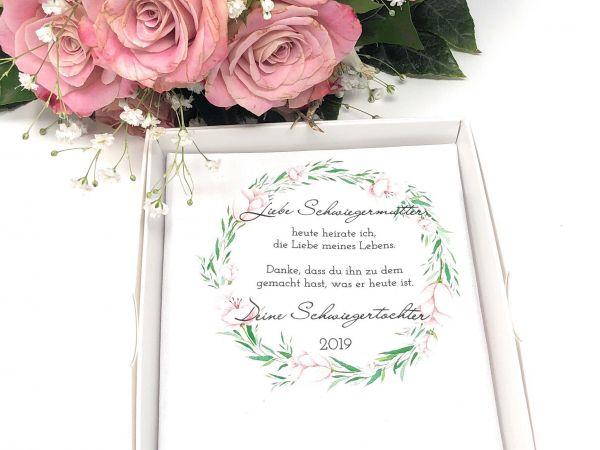 """Hochzeit Taschentuch für Freudentränen """"Schwiegermutter"""" Stofftaschentuch"""