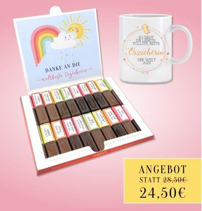 Sparangebot Aufkleber Set für Merci Schokolade und Tasse für die Erzieherin