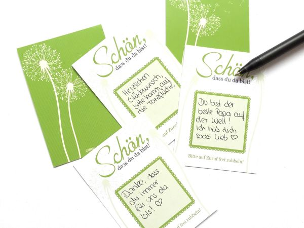 Gastgeschenk Hochzeit - Rubbelkarten Pusteblume grün