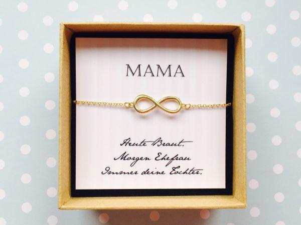 Geschenk Brautmutter - Armband Infinity in zauberhafter Geschenkschachtel mit Karte