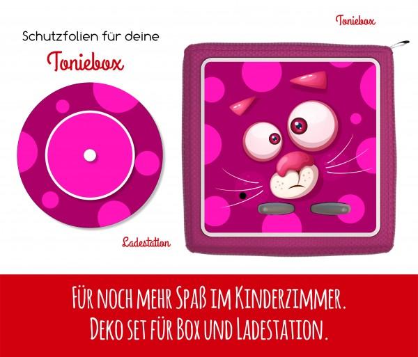 Ladestationsticker und Schutzfolie passend für Toniebox - Funny Face pinke Katze