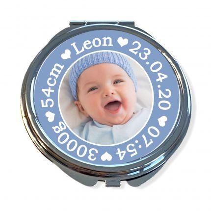 Taschenspiegel personalisiert mit Foto | Geburtsdaten | Geschenk zur Geburt für Omis, Tanten, Freund