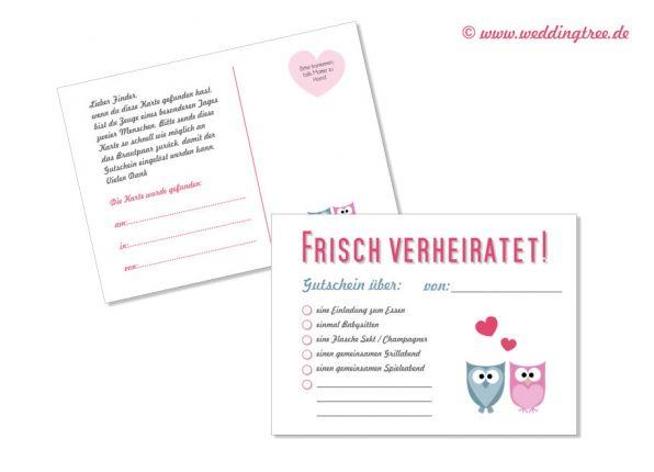 50 Ballonflugkarten zur Hochzeit Eulen Gutschein