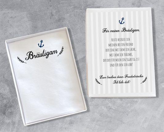 """Hochzeit Taschentuch für Freudentränen """"Bräutigam"""" Stofftaschentuch"""