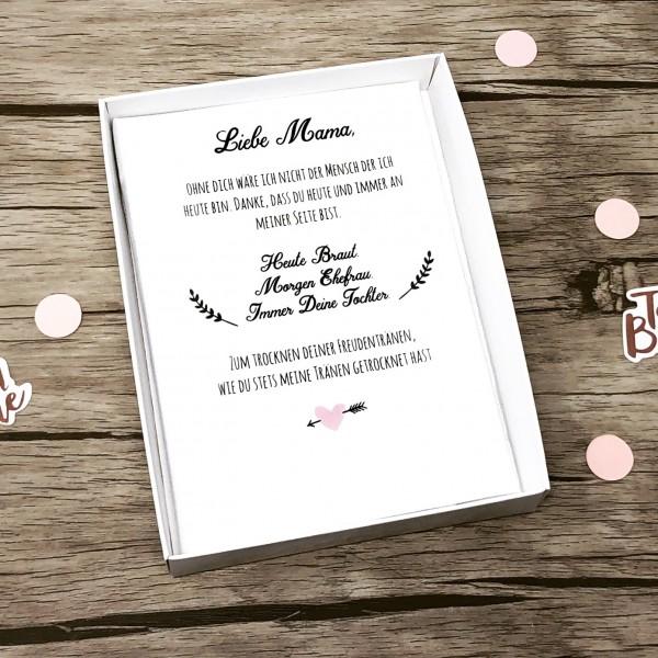 """Hochzeit Taschentuch für Freudentränen """"Brautmutter"""" Stofftaschentuch - Text auf dem Taschentuch"""