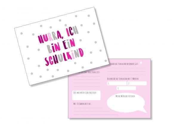 Einschulung - Hurra ich bin ein Schulkind - Gästekarten zur Erinnerung