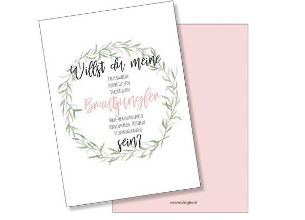 Hochzeitskarte Willst du meine Brautjungfer sein? Postkarte