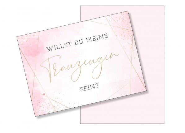 Postkarte Willst du meine Trauzeugin sein? Rosa / Gold