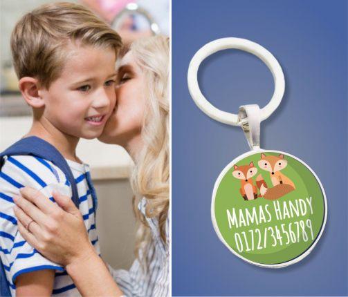 Kinder Anhänger Notfallnummer Füchse - Notfallanhänger - Geschenk zur Einschulung oder Kindergarten-