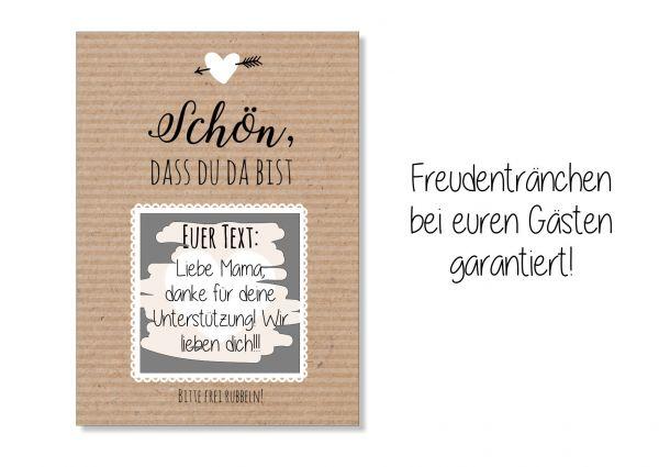 Gastgeschenk Hochzeit - Rubbelkarten Kraftpapier
