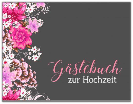 GÄSTEBUCH ZUR HOCHZEIT | SCHWARZ PINKE BLUMEN