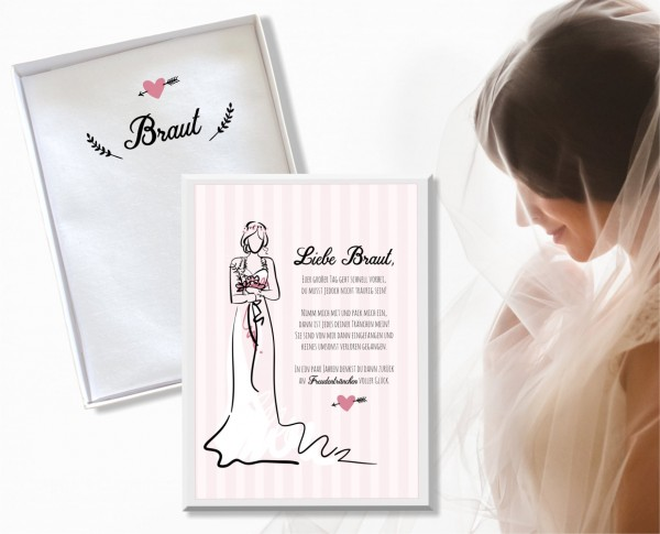 """Hochzeit Taschentuch für Freudentränen """"Braut"""" Stofftaschentuch"""