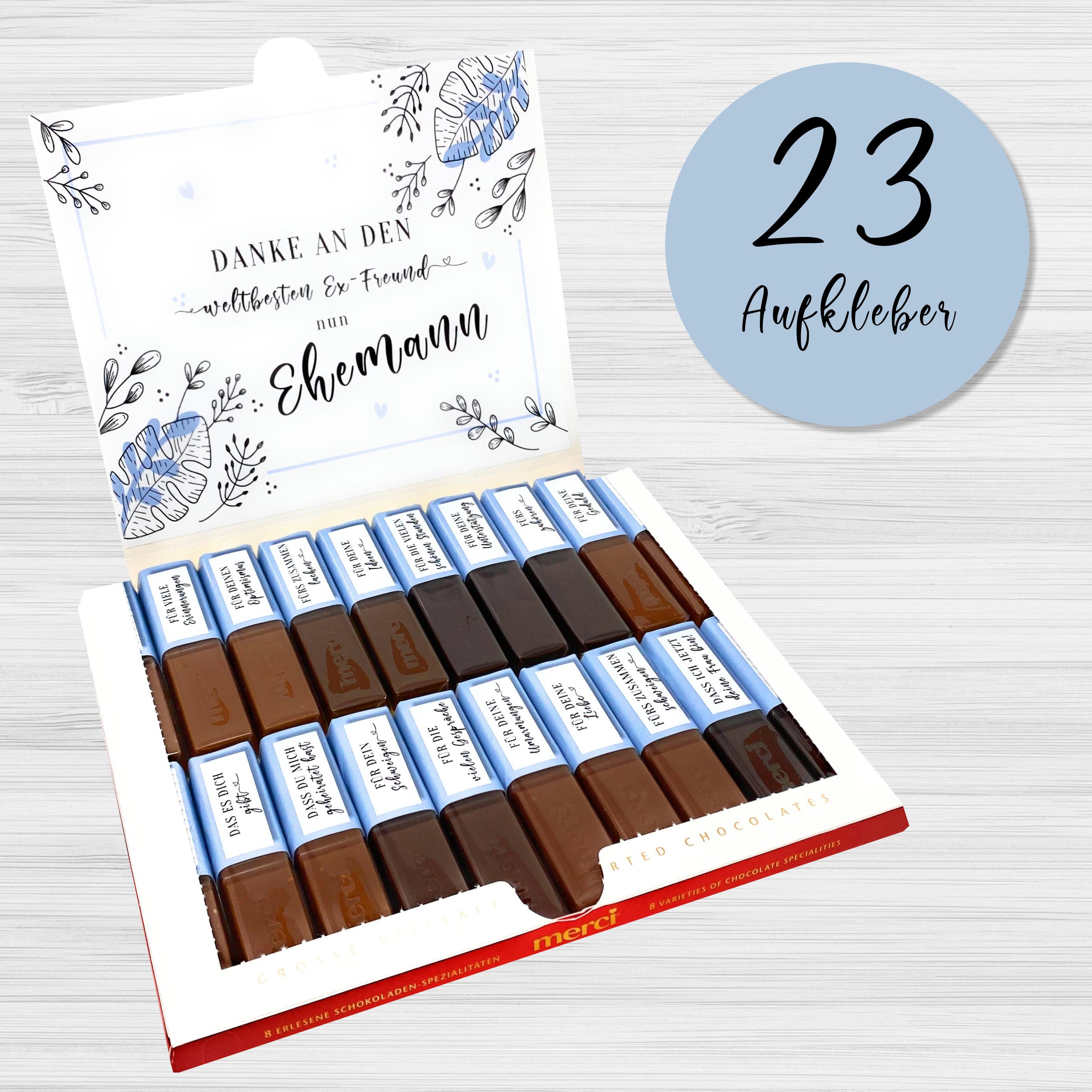 Aufkleber Set Fur Merci Schokolade Personliches Geschenk Fur Die Trauzeugin Weddingtree
