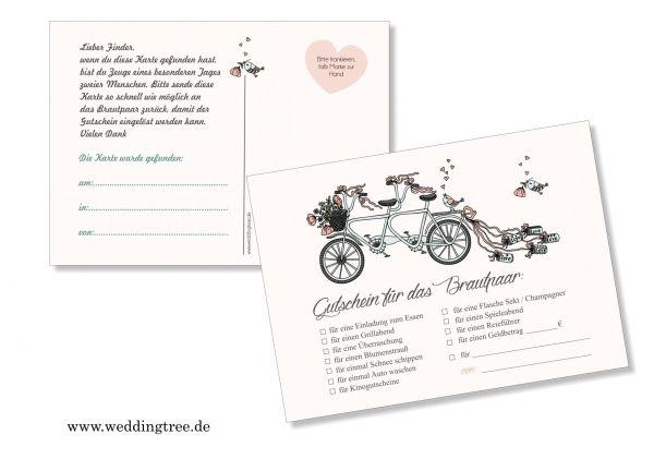 50 Ballonflugkarten zur Hochzeit Tandem, Gutscheinkarten
