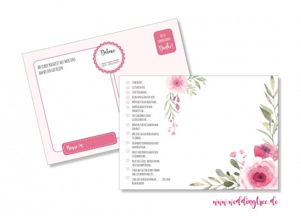 52 Karten Hochzeitsspiel | Postkartenspiel | Watercolor Rose