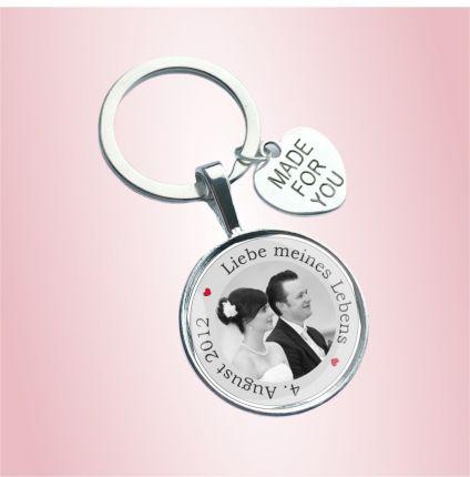 Schlüsselanhänger für die Hochzeit - personalisiert mit Foto