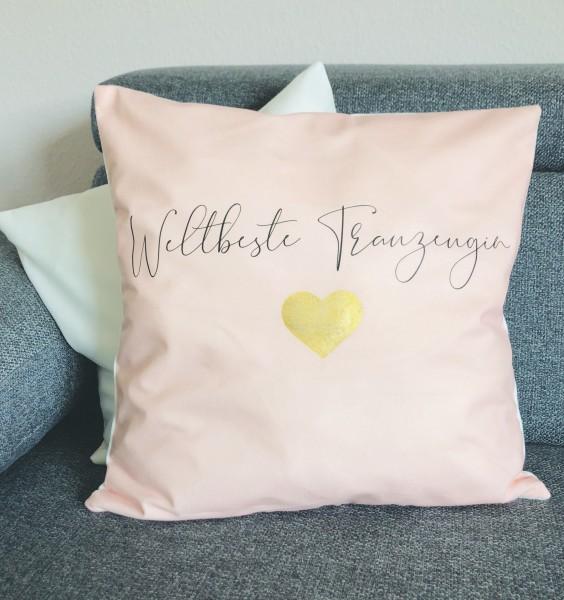 Kissenbezug Geschenk für die weltbeste Trauzeugin rosa