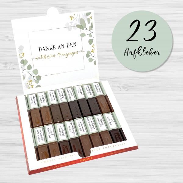 Aufkleber Set für Merci Schokolade | persönliches Geschenk für den Trauzeugen