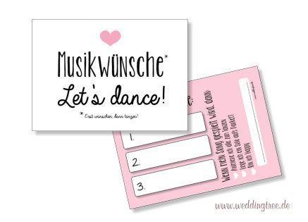 Musikwunschkarten für die Hochzeit   Rosa Herz