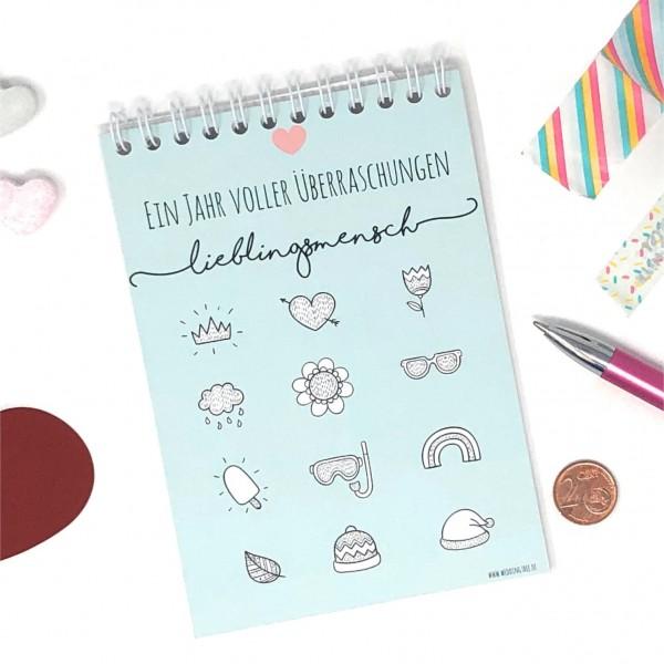 Rubbelkalender mit persönlicher Botschaft - Lieblingsmensch