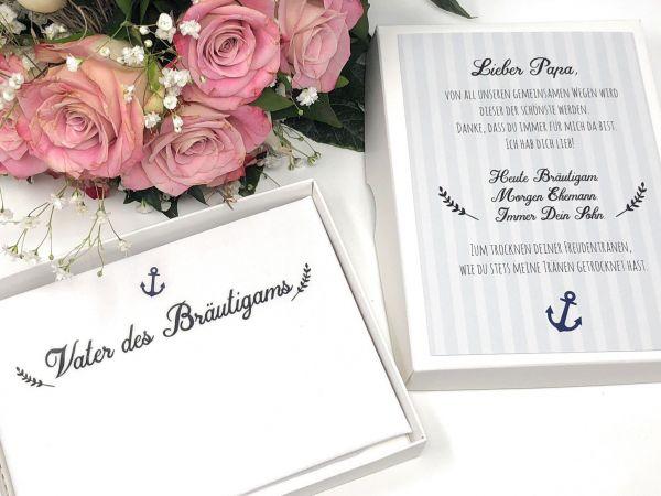 """Hochzeit Taschentuch für Freudentränen """"Vater Bräutigam"""" Stofftaschentuch"""