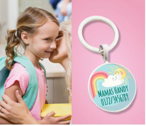 Kinder Anhänger Notfallnummer Regenbogen mit Sonne