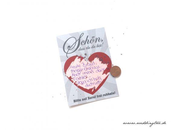 Gastgeschenk Hochzeit - Rubbelkarten Rotes Herz