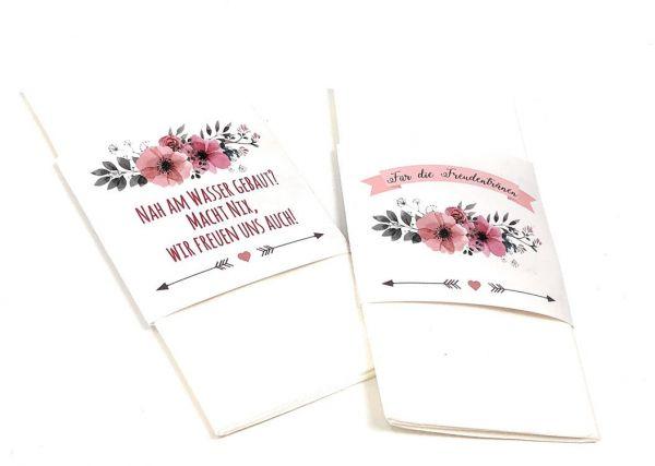 Freudentränen, Banderolen für Taschentücher, Freudentränenbanderolen, Hochzeitsdeko, Kirchenheft, Ga
