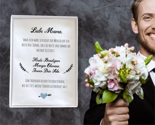 """Hochzeit Taschentuch für Freudentränen """"Mutter Bräutigam"""" Stofftaschentuch   Text auf dem Taschentuc"""