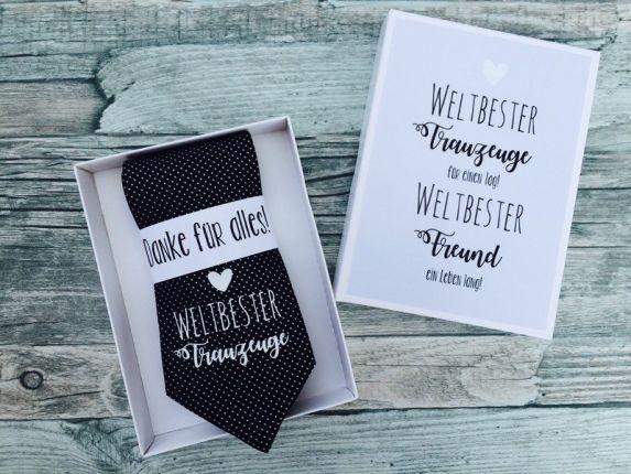 """Hochzeit Geschenk für den Trauzeugen - schwarze Krawatte mit Aufdruck """"Weltbester Trauzeuge"""""""