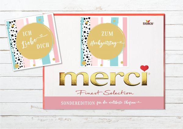 Aufkleber Set für Merci Schokolade | persönliches Geschenk zum Hochzeitstag | Ehefrau | Ehemann