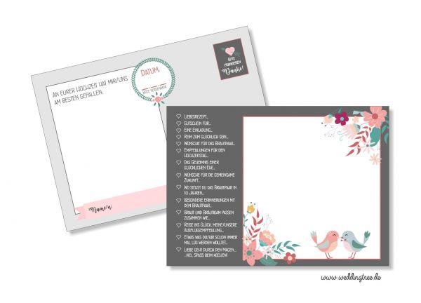 Hochzeitsspiel 52 Karten | Postkartenspiel | Anthrazit Vögelchen