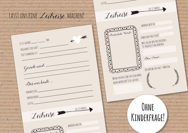 Hochzeitsspiel Zeitreise | Zeitkapselkarten Kraftpapieroptik | Briefe in die Zukunft