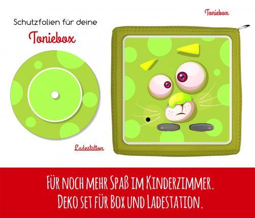 Ladestationsticker und Schutzfolie passend für Toniebox - Funny Face grüne Katze