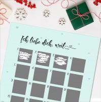 """Adventskalender zum Rubbeln """"ICH LIEBE DICH, WEIL"""" A3 Weihnachtskalender"""