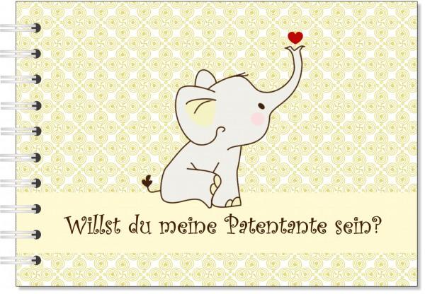 Geschenk für die Patentante - Willst du meine Patentante sein? Geschenkbuch Elefant