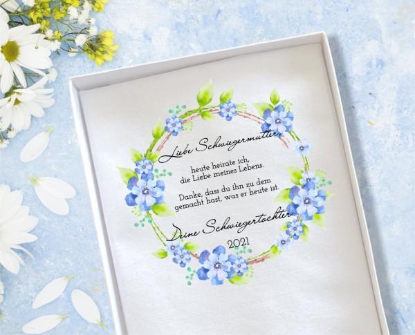 """Hochzeit Taschentuch für Freudentränen """"Schwiegermutter"""" Stofftaschentuch Blaue Blumen"""