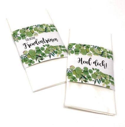 Freudentränen Banderolen grüne Blätter Ranken